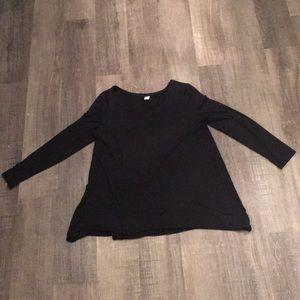 women's tunic length plain black long sleeve